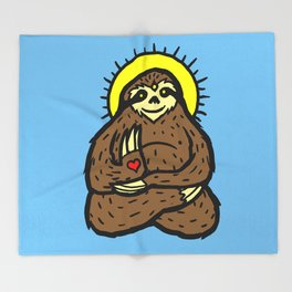 Buddha Sloth Throw Blanket