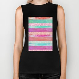 Tropical Stripes - Pink, Aqua And Peach Colorway Biker Tank