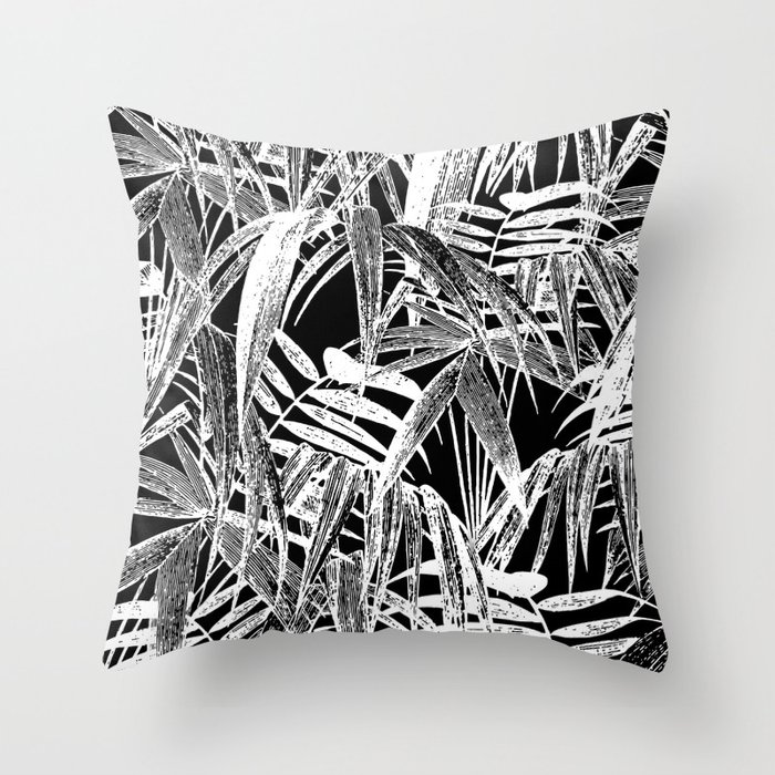Black And White Vintage Tropical Palm Leaf Pattern Throw Pillow