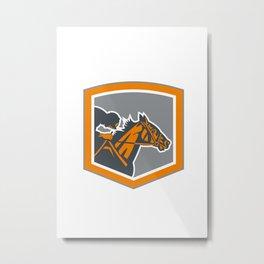 Jockey Horse Racing Shield Retro Metal Print