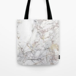 Champagne Rose Gold Blush Metallic Glitter Foil on Grey Marble Tote Bag
