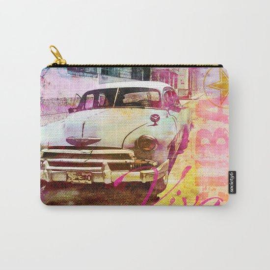 Viva Cuba retro car mixed media art Carry-All Pouch
