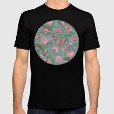 Soft Smudgy Pink and Green Floral Pattern MEDIUM Mens Fitted Tee Black