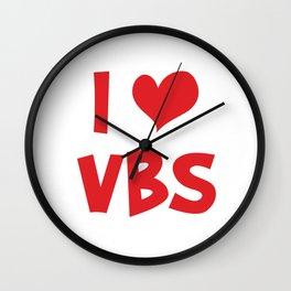 I Love VBS Christian Church Vacation Bible School Humor Cool Pun Gift Wall Clock