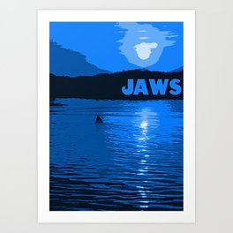 Jaws Poster - Blue Art Print