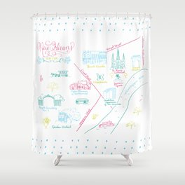 New Orleans, Louisiana Illustrated Calligraphy Map Shower Curtain