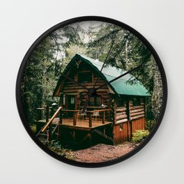 Log Cabin in the Woods Wall Clock