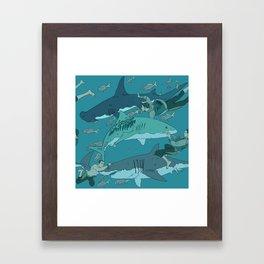 Sharks Pattern Framed Art Print