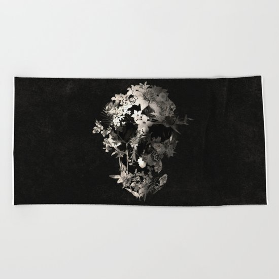 Spring Skull Monochrome Beach Towel