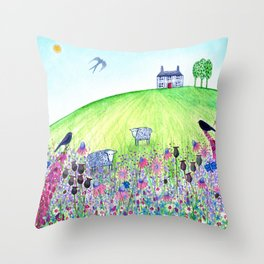 Summer Meadow, landscape painting Throw Pillow