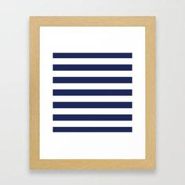 Navy Blue and White Stripes Framed Art Print