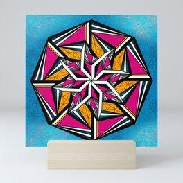 Geometric Abstract Blue Pink Yellow Mini Art Print