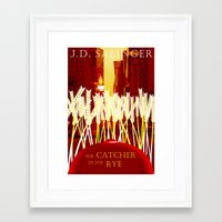 catcher in the rye Framed Art Prints featuring Holden, the Rye, and NYC by naturalhaven