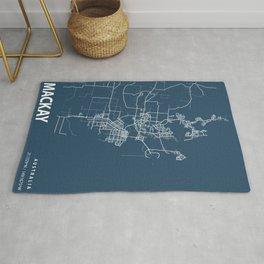 Mackay Blueprint Street Map, Mackay Colour Map Prints Rug