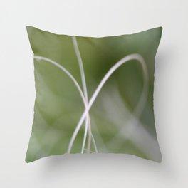 Macro of A Green Palm Tree Leaf  Fond Throw Pillow