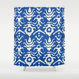 Blue Ikat Damask Print Shower Curtain