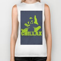 lime green Biker Tanks featuring chillax lime green grunge panda by Moonlake Designs
