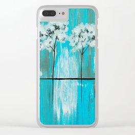 Blue Gray Arboretum Clear iPhone Case