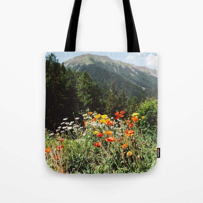Mountain garden in Switzerland mountains Tote Bag
