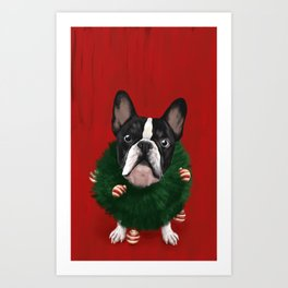 Christmas Bulldog Art Print