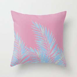Palm Leaves Blue And Pink Throw Pillow