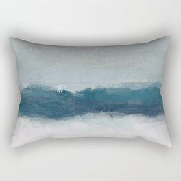 Dark Teal Blue, White, Pink, Light Blue Modern Wall Art, Ocean Waves Diptych Nursery Beach Decor Rectangular Pillow