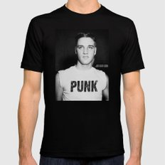 Elvis is a Punk Black LARGE Mens Fitted Tee