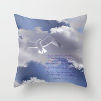 bible verses Throw Pillows featuring Seagull with Matthew 6:26-26 Verses by Photos and Images by Corri