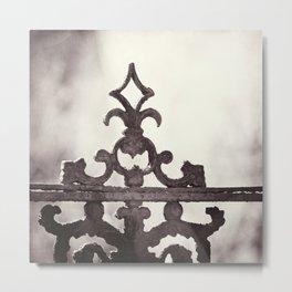 Gate Architecture Photography, Sepia Architectural Gates, Neutral Wrought Iron Metal Print