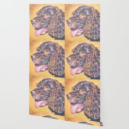American Water Spaniel dog portrait from an original painting by L.A.Shepard Wallpaper