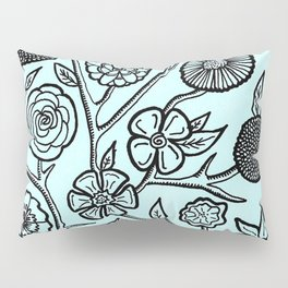 Flower Pattern Blue Pillow Sham