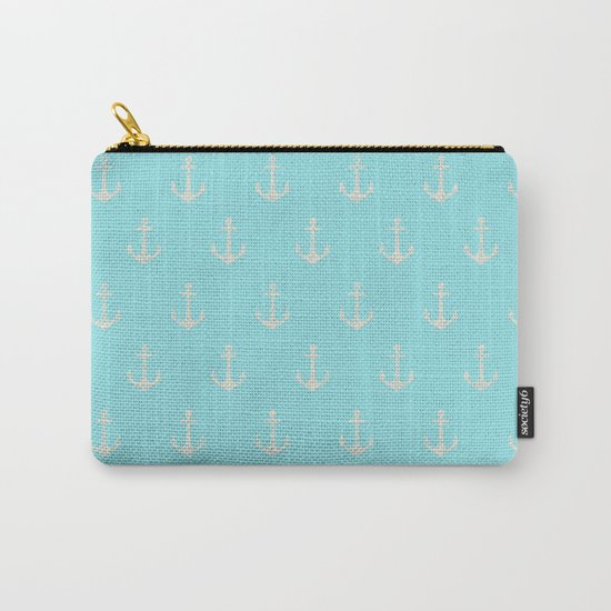 Maritime Aqua and White Anchor Pattern on #Society6 Carry-All Pouch