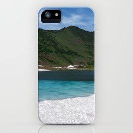 Fantastically summer mountain landscape of Kamchatka Peninsula: Blue Lake, snow and ice along shores iPhone Case