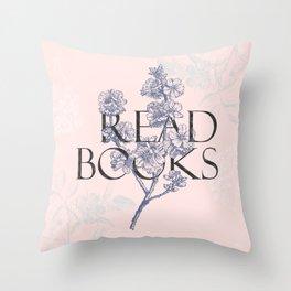 Read Books vintage typography Throw Pillow