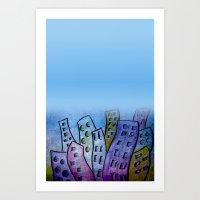 digicity blue curtain Art Print