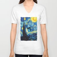 starry night V-neck T-shirts featuring STARRY by MiliarderBrown