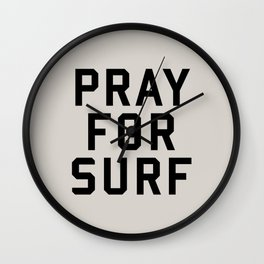 Pray For Surf Wall Clock