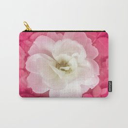 White Rose with Pink Leaves Around Top View Photo Carry-All Pouch