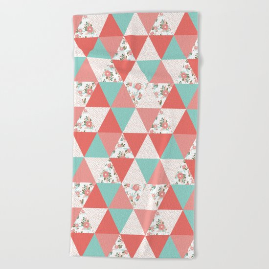 Triangle quilt pattern cute florals dots cheater quilt blanket quilter must have cute baby shower  Beach Towel