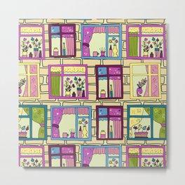 House wall with cute windows Metal Print