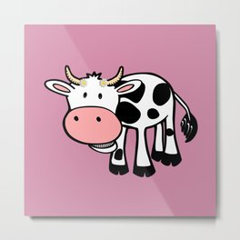 Smiling Cow with Daisies Metal Print