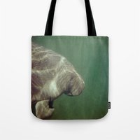 manatee Tote Bags featuring Manatee by Twilight Wolf