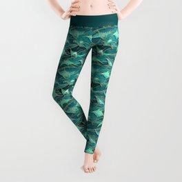 Patchwork Manta Rays in Jade and Emerald Green Leggings