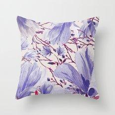 Blue Magnolias Throw Pillow