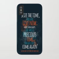 """picard iPhone & iPod Cases featuring """"Live now; make now always the most precious time. Now will never come again"""" Captain Picard by Elizabeth Cakovan"""