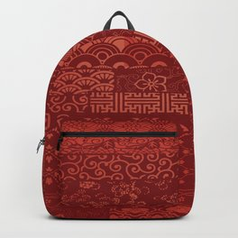 Japanese Seamless Red Patterns Symbols Backpack