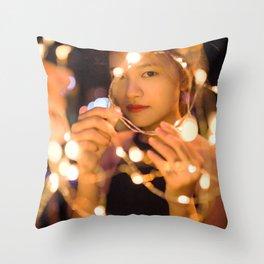 Woman Through String of Lights Throw Pillow