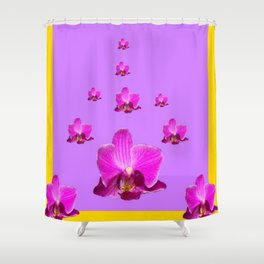 PURPLE ORCHID FLOWERS RAIN YELLOW ART Shower Curtain