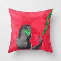 cigarettes Throw Pillows featuring Watermelon Cigarettes by Alicia Ortiz