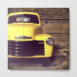 Yellow Chevy Metal Print